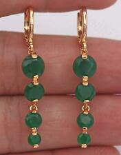 "18K Yellow Gold Filled 1.65"" Earrings Emerald Topaz Bead Chain Drop Stud Prom"