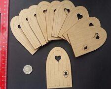 10 x Wooden Heart Elf Fairy Door 3mm MDF Craft Shapes Wholesale Embellishments.