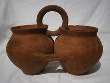 Antique Ceramic Rare Shape Twin Jug Brown Clay Crock European Farmers Pottery