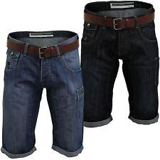 Unifarbene Herren-Cargo-Shorts aus Denim mit regular Länge