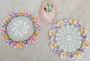 Vintage Hand Crocheted Doilies Doily Pansies Pansy & Pink Flower Pot Oval Hanger