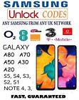 UNLOCK CODE SAMSUNG GALAXY A70 A50 A20 A10 S9 S8 S7 S6 S5 O2 EE VODAFONE NETWORK
