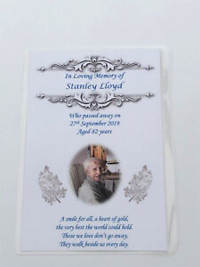 10 x Personalised A6 Funeral, Memorial, Remembrance, Keepsake Laminated cards M3