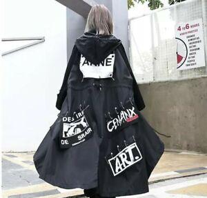Black Arty Floaty Rock Chic Street Swag Long Loose Graffiti Jacket Parka Coat 14