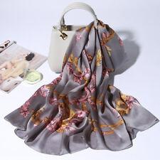 "71*26"" 100% Pure Silk Long Scarf Fashion Nature Real Silk Shawl Flower Pattern"