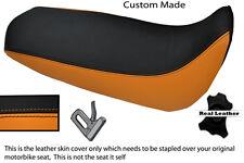 Negro Y Naranja Custom Fits Yamaha Xt 125 R X 05-12 real de piel cubierta de asiento