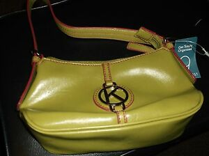 """NEW NINE WEST SMALL POCKETBOOK PURSE OLIVE GREEN DARK PINK """"K"""" INITIAL"""