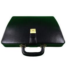 MANDAVA Men Genuine Leather Attache Briefcase Executive Business Handbag (Black)