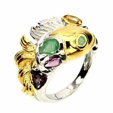 Natural Emerald, Citrine, Rhodolite Gems 925 Sterling Silver Fish Ring Sz 7.5