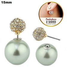 15mm Double Sided Peekaboo Light Mint Green Pearl & Rhinestone Ball Stud Earring