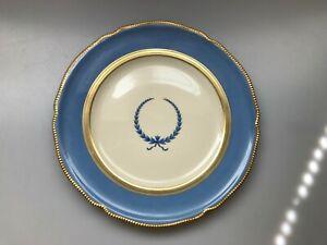 ROSENTHAL IVORY CONTINENTAL EMPIRE LAUREL LEAF PATTERN 1088 BLUE CABINET PLATE
