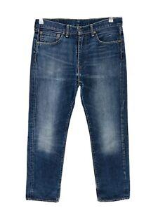 Vintage Levi 'S 505 Bleu Standard Jeans Coupe Droite Taille W34 L32