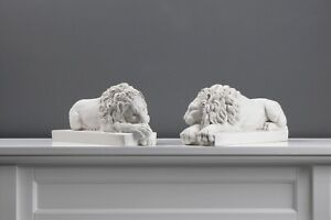 Canova Lions - Statues in Pair (12.2 inch / 31 cm)