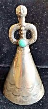 Navajo TURQUOISE & SILVER Mother in Law Bell Pendant Hand Stamped Early 20th C.