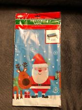 Christmas House Santa & Reindeer Rectangular Tablecloth 54 in x 108 in New In Ba