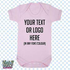 Custom Personalised BABY GROW Body Suit Sleep Vest Romper Gift-Choose text/logo2