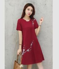 EMBROIDERED FLORAL DRESS (TG) Maroon