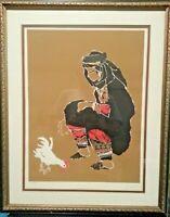Vintage Middle Eastern Art Signed and Numbered Batik Style Print Sakal Gallery