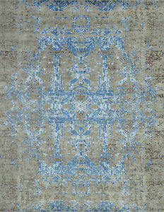 Modern Abstract Rug, 8'x10', Grey/Blue, Hand-Knotted Wool/Bamboo Silk Pile
