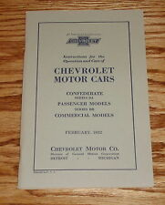 1932 Chevrolet Car Owners Manual Confederate BA Passenger Commercial 32 Chevy