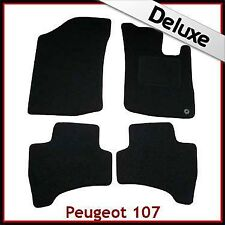 PEUGEOT 107 2005-2014 1-eyelet Tailored LUSSO 1300g TAPPETI AUTO tappetini Nero
