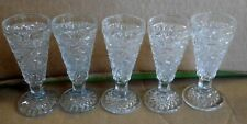 Small Cut Glass Cordial Or Vodka Glasses Lot Of 5
