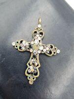 Antiker Kruzifix Anhänger Metall mit  Steinen verziert Erbstück aus Frankreich