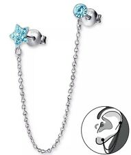 Rhodium Sterling Silver Aquamarine Crystal EarCuff ONE 1 Earring Cartilage Chain