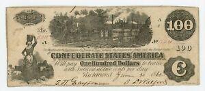 1862 T-39 $100 The Confederate States of America Note - CIVIL WAR Era w/ TRAIN