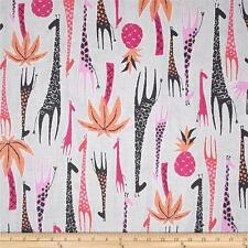 By 1/2 Yard  Michael Miller Cotton Fabric - Migration Giraffe Border in Pink