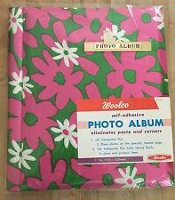 Vintage Woolco Pink & Green Flower Power Fabric Covered Photo Album NEW