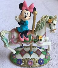 Disney Carousel Figure, Minnie Wearing Blue Dress & Pink Bow, Riding White Horse