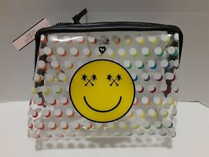 Victorias Secret PINK Clear SMILEY FACE Vacay Make Up Cosmetic Bag NWT Zipper