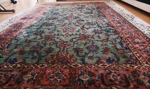 Vintage Area Rug Carpet Anatolian Green Pink Wool Cotton Handmade Flowery