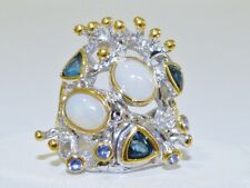 GENUINE 3.74tcw! Tanzanite, London Blue Topaz & Opal Ring S/Silver 925