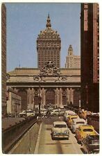 1950's NYC Taxis Postcard - Street scene @ Grand Central terminal  New York City