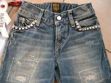 (396) RARE-The Kid Boys destroyed used look Jeans Hose Rocker Stahlnieten gr.98