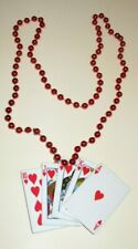 """Mardi Gras Bead Necklace Metallic Red Beads With Royal Flush Card Hand 32"""" Long"""