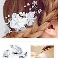 Silk Flower Bridal Wedding Hair Comb Pearl Crystal Diamante Clip Hair Accessory