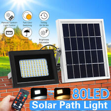80 LED Solar Power Floodlight Light Remote Control Security Outdoor Garden