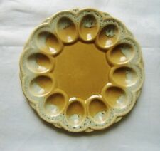 Canonsburg Pottery Usa 1967 Butterscotch Drip Deviled Egg plate Makers Mark