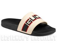 GUCCI men 7 ecru LOGO STRIPE rubber PURSUIT slides FLIP-FLOPS shoes NIB Authentc
