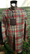 Mackintosh Original Mens Raincoat Dalkeith Bonded Size 42 Moss Tartan Fox's Wool