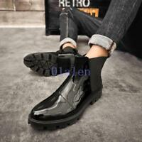 Men's Flats Shoes Round Toe Patent Leather Pull On Elastic Casual Ankle Boots