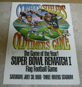 RARE PITTSBURGH STEELERS COWBOYS FLAG FOOTBALL GAME 1988 THREE RIVERS AUTOGRAPHS