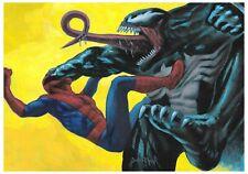 spiderman venom marvel ORIGINAL acrylic illustration art