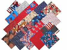 """160 2.5"""" Quilting Fabric SQUARES Patriotic Red White and Blue !20 DIFF-8 EA#2"""