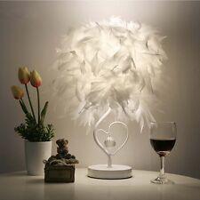 Feather Shade Table Lamp Metal Vintage Elegant Bedside Desk Night Light EU Plug