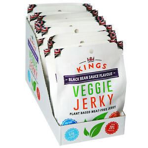 Kings Vegan Black Bean Sauce Flavour Veggie Jerky Box of 16 x 65g BBE: 15/01/21