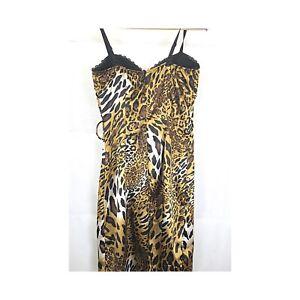 Frederick's Of Hollywood  Womens SZ M Dress Gold Black Animal Print